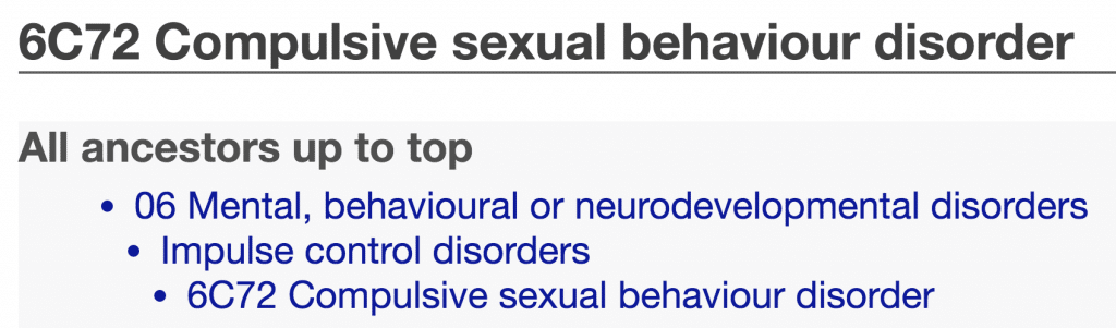 ICD-11 Compulsive Sexual Behaviour Disorder